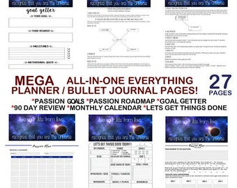 Life Goal Planner, Bullet Journal Kit, Bullet Journal Template,Passion Roadmap Planner, Bullet Journal Inserts,Bullet Journal Pages, Bujo A5