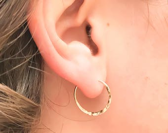 Small Gold Hoops, Gold Filled Hoops, Hammered Hoops, Gold Hoop Earrings, Hammered Gold Hoops