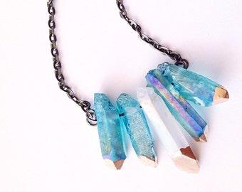Aura Crystal Necklace Raw Crystal Healing Crystals and Stones Crystal Pendant Bohemian Boho Chic Quartz Rainbow Crystal Titanium Crystal