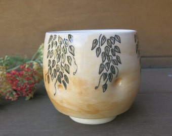 Peachy Orange Ceramic Yunomi, Tea Bowl, Tea Cup Woodland Botanical Hand Drawn and Painted, Handmade Artisan Pottery by Licia Lucas Pfadt