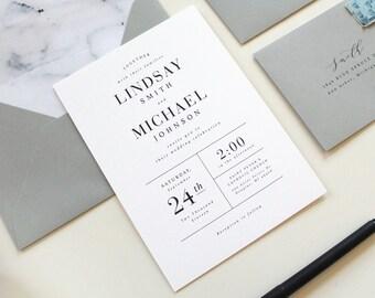 Modern Wedding Invitations, Modern Marble Wedding Invitation, Simple Wedding Invitations, black and white invite, Marble envelope liner