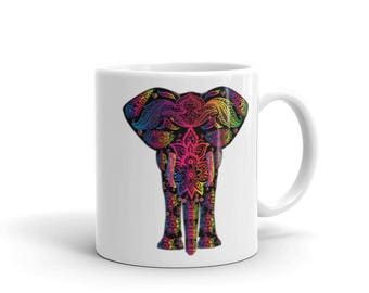 Elephant Mug - Elephant Art Colorful Mug - Animal Elephant Gift Idea Mug - Elephant Mom Birthday Gift Mug