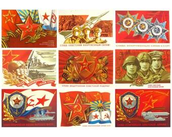Soviet Army and Navy Day, Soviet Postcard, Set, 23 of February, Soviet Union Vintage Postcard, USSR, Used Postcards, 1970s -1980s