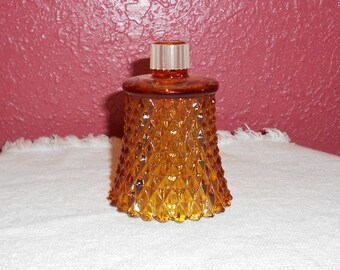 Vintage Amber Brown Glass Diamond Point Votive Cup