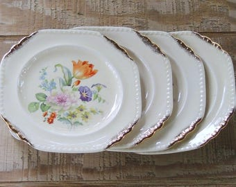 Vintage Salem Heirloom Octagonal Bread and Butter Plates Set of 4, Bridesmaid Luncheon Tea Party, Shabby Cottage Style, Ca. 1940's