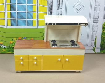 TOMY STOVE TOP with Hood, 1970's, Hard Plastic, 1:18 Lundby Scale, Smaller Homes & Garden, Vintage Dollhouse Kitchen Furniture