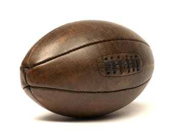 Vintage leather 1920s rugby ball