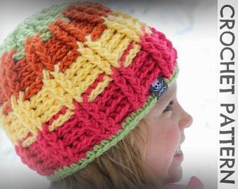 CROCHET PATTERN - Avalanche Beanie - Child