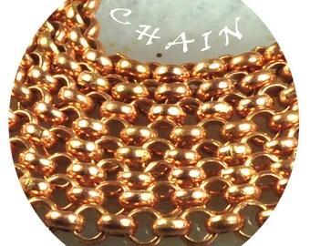 3mm Rollo chain solid copper, chain footage 5 feet