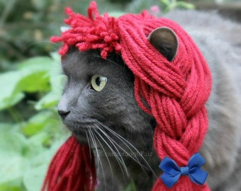 Raggedy Ann Wig - Rag Doll Yarn Wig for Cats and Small Dogs - Cat Halloween Costume - Pet Raggedy Ann Costume - Cat Photo Prop