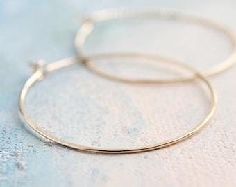 """Gold Hoop Earrings Medium, Gold Hoops Earrings 1.5"""" thin hoop earrings, gold hoop earrings"""