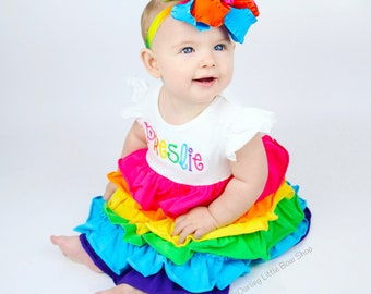 Rainbow Ruffle Dress -- Rainbow of Ruffles -- soft knit ruffle dress with angel wing bodice, optional monogram, sizes 6m to girls 8