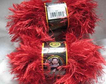 Red/ Fun Fur / Lion Brand / Eyelash Yarn / Puff Eyelash Yarn