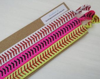 Yellow, white, and pink softball headbands, set of elastic headbands, foldover elastic, stretch headband, adult size, colored softball