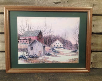 Country primitive farmhouse and barn scene framed and matted print