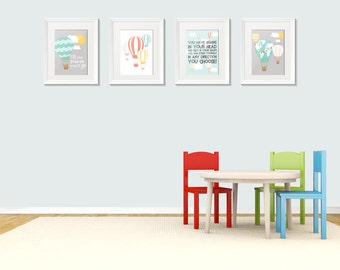 Dr. S quote Whimsical Hot Air Balloon wall art set of 4 digital prints.