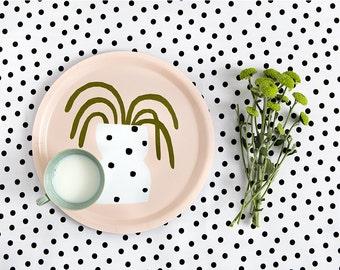 POLKA DOTS TRAY - Tray by Depeapa, serving tray, illustrated tray, cactus, round tray, plant, breakfast tray, illustration Depeapa