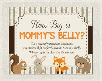 Woodland Baby Shower Boys / Girls Gender Neutral  - How Big is Mommy's Belly? PDF Printable | Boy Baby Shower Games | Instant Download BS-3