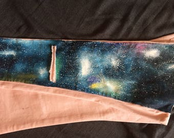 Galaxy hand-painted pink jeans