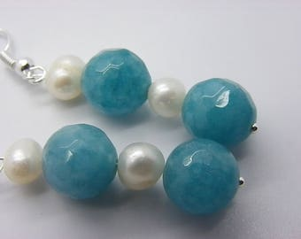 earrings with cultured pearls 10 mm jade