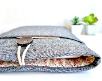 Laptop Sleeve, Computer Sleeve, Chromebook Case, Surface Case, MacBook Sleeve, Laptop Case - Gray Wool + Floral