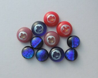 Dichroic fused Glass Mini Cabs, Bead Findings, Dichroic Cabochons, Fused Glass, Glass Beads, Buttons, Do It Yourself, DIY 5065