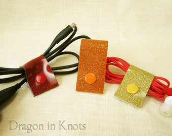Fiery Cord Ties - Set of 3 Glitter Cord Wraps in Red Orange Gold Vinyl, Reusable Snap Cable Ties, Colorcoded Organization, Back to School