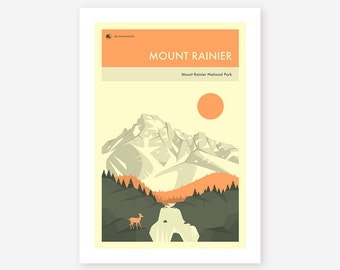 MOUNT RAINIER National Park (Giclée Fine Art Print/Photo Print/Poster Print) by Jazzberry Blue