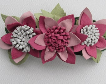 Leather flower barrette, handmade leather hair slide, pink and green leather hair accessory, pink flowers, leather French barrette, Ruby62