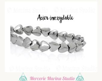 10 beads hematite 6mm N55199 heart