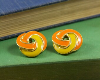 Infinity knot earrings, Yellow and orange clip earrings, Unsigned clip earrings