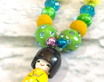 Matryoshka Doll Necklace. Kids jewelry. Green and Yellow. Little girl. Gift for girls. Bubblegum necklace. Birthday party. One of a kind.