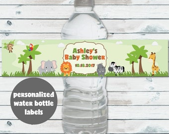 Personalized Safari Water Bottle Labels, Printable Baby Shower Water Bottle Labels, Jungle Animals Water Bottle Labels, Safari Shower Decor