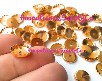 10 pcs- 11mm Round Crown Edge Gold Pronged Setting- Open Hole Back- For Flat Back Cabochons or Jewels-  FAST SHIPPING from USA with Tracking