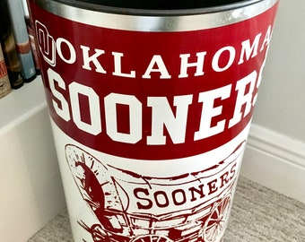 """Vintage Retro University of Oklahoma """"Boomer Sooners"""" Trash Can   Tall Metal Waste Basket   Red and White Graphics   P&K Products, Inc."""