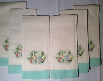 Vintage Embroidered Tea Towels~Dinner Napkins~Table Linens~Dinner Towels~Embroidered Kitchen Towels