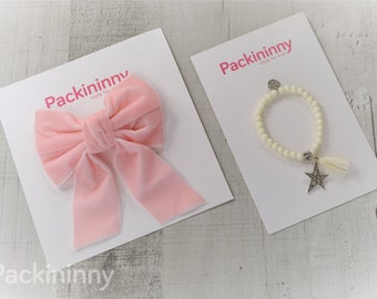 Adorable Velvet Pink Hair Bows, girl hair bows,baby hair bow, Packininny hair bow, Big hair bows, With Bead Charm Bracelet, 6 Colors to Pick