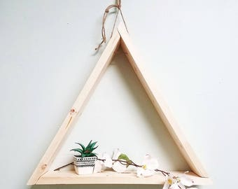 18in Natural Pine Triangle Hanging Shelf