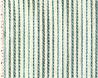 Berlin Ocean, Magnolia Home Fashions - Ticking Stripe Cotton Upholstery Fabric By The Yard