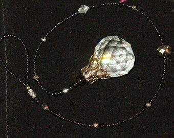 Crystal Pendulum-Sun Catcher In Black and Silver~Balancing Rainbows~Activate All Chakras