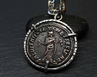 big ancient Roman coin pendant mens, ancient coin necklace, mens rustic pendant, authentic Roman Empire coin pendant, antique coin necklace