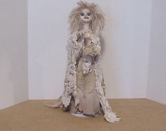 Miranda the White Witch, Wizard, OOAK Art Doll, Fantasy Creature, Gypsy Witch, Fortune Teller, Handmade Art Doll, Goth Doll, by ds hahn