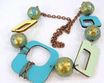 Funky Artsy Painted Wood and Handcrafted Polymer Necklace on Antique Copper Chain (NK 185)