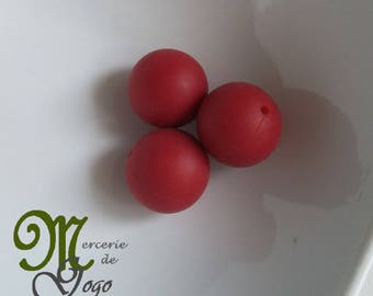 Round silicone bead. Diameter 1.5 cm deep red.