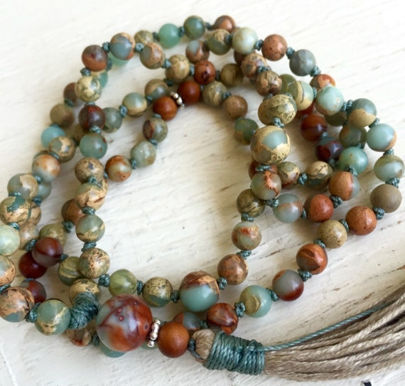 Petite African Opal Mala Beads Peruvian Blue Fragrant Sandalwood Bali Sterling Silver 108 Beaded Mala October Birthstone Unisex
