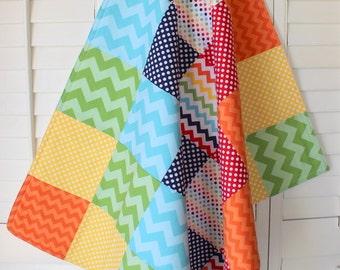 Baby Blanket , Nursery Decor, Baby Quilt, Baby Bedding, Baby Shower Gift, Patchwork Quilt, Rainbow, Navy Blue, Chevron, Rainbows