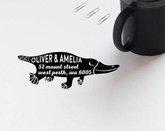 Return Address Stamp, Platypus Rubber Stamp, Personalized Address Envelope Stamp, Animal Stamp, Self Inking Custom Stamp  - CA762