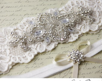 Ivory Lace Garter Set, Wedding Garter Set, Bridal garter Set, Rhinestone Garter, Ivory Garter set, White Lace Garter Set
