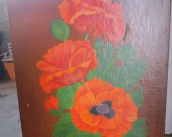 """Vintage Original Signed Artwork Painting Poppies in a Black Vase / Signed HAzel / 18 x 14"""""""