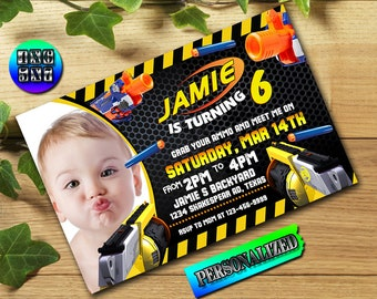 Nerf, Nerf Invitation, Grab Your Nerf Gun, Ammo, Nerf Party, Nerf Birthday, Nerf Gun, Nerf War, Boy Invitation _UF0227